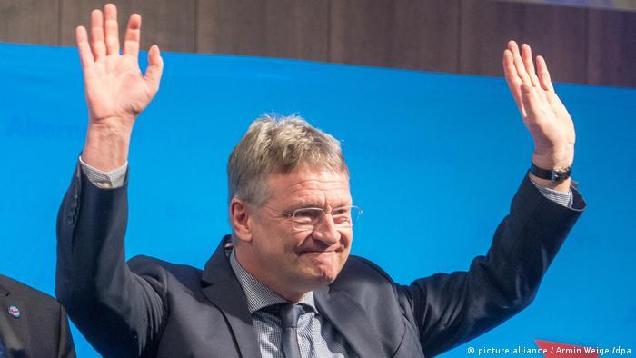 Jörg Meuthen vor einem blauen Hintergrund hebt beide Hände über den Kopf (Foto: Picture Alliance)