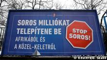 An government billboard reads Stop Soros, says he wants to transplant millions from Africa and the Middle East in Budapest (Reuters/B. Szabo)