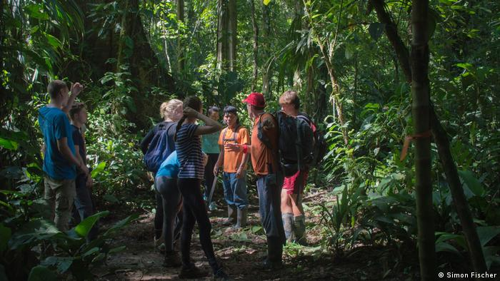Costa Rica: students standing in rainforest