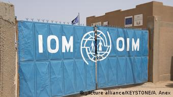 The entrance to the IOM transit center in Agadez   IOM