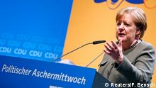 14.2.2018*** German Chancellor Angela Merkel addresses the traditional Ash Wednesday meeting of the Christian Democratic Union party (CDU) in Demmin, Germany February 14, 2018. REUTERS/Fabrizio Bensch