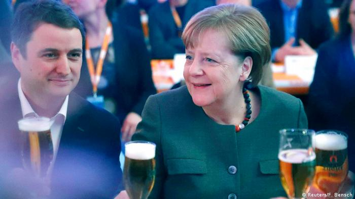 Angela Merkel drinks a beer on Ash Wednesday with the CDU