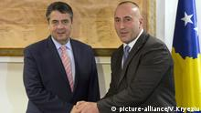 German Minister of Foreign Affairs Sigmar Gabriel, left, meets with Kosovo prime minister Ramush Haradinaj, on Wednesday Feb. 14, 2018, in Kosovo capital Pristina. Gabriel is on two day official visit to Kosovo. (AP Photo/Visar Kryeziu) |