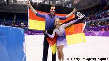 15.02.2018+++ GANGNEUNG, SOUTH KOREA - FEBRUARY 15: Gold medal winners Aljona Savchenko and Bruno Massot of Germany celebrate during the victory ceremony after the Pair Skating Free Skating at Gangneung Ice Arena on February 15, 2018 in Gangneung, South Korea. (Photo by Jamie Squire/Getty Images)