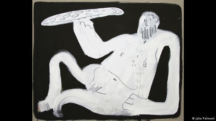 Gemaltes Bild eines halb liegendes Mannes mit einer Pizza in der Hand (Foto: Jake Palmert)