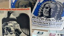 Verschiedene Publikationen aus der Zeit des Nationalsozialismus zu Bach und seiner Musik liegen im Bachhaus Eisenach in einer Ausstellungsvitrine, aufgenommen am Donnerstag (30.04.2009). Die Sonderausstellung Blut und Geist widmet sich ab Freitag (01.05.2009) der Vereinnahmung, dem Mißbrauch und der Ausmerzung der Musik von Johann Sebastian Bach und Felix Mendelssohn im Dritten Reich. Die Schau ist bis zum 08. November 2009 im Bachhaus in Eisenach zu sehen. Foto: Hendrik Schmidt dpa/lth +++(c) dpa - Report+++