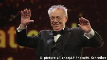 Festival director Dieter Kosslick smiles during the opening of the 68th edition of the International Film Festival Berlin, Berlinale, in Berlin, Germany, Thursday, Feb. 15, 2018. (AP Photo/Markus Schreiber)  