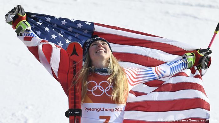 Olympische Winterspiele 2018 in Südkorea Riesenslalom Mikaela Shiffrin (picture-alliance/Zumapress/M. Reis)