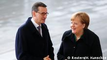 German Chancellor Angela Merkel and Polish Prime Minister Mateusz Morawiecki in Berlin in February 2018 (Reuters/H. Hanschke)