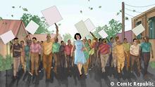 Nigeria, Cartoons und Zeichnungen Margaret Ekpo unionizes market women