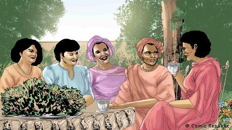 Nigeria, Cartoons und Zeichnungen Margaret Ekpo meets Funmilayo Ransome Kuti