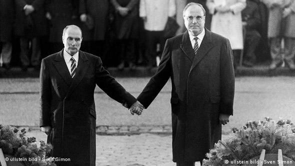 Helmut Kohl and Francois Mitterand holding hands