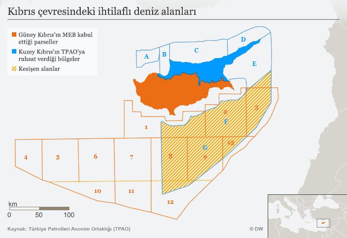 Kıbrıs Cumhuriyeti'nin 13 parsele ayırdığı bölgede yer alan 1, 2, 3, 8, 9, 12 ve 13 numaralı bloklar; Kuzey Kıbrıs'ın TPAO'ya petrol ve doğalgaz arama ruhsatı verdiği A, B, C, D, E, F ve G bölgeleriyle kesişiyor.