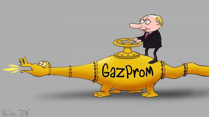 Карикатура Сергея Ёлкина про Путина и Газпром в виде дракона