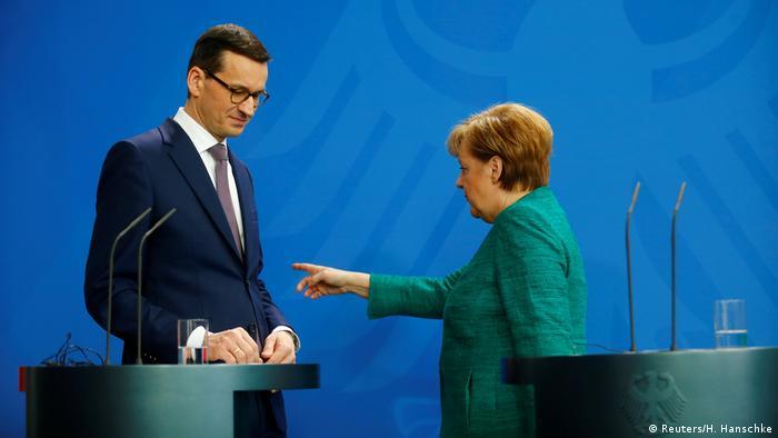 Матеуш Моравецкий и Ангела Меркель в Берлине