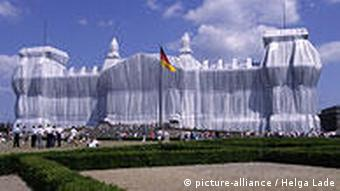 The German Reichstag building is covered in a huge sheet in one of Christo's installations