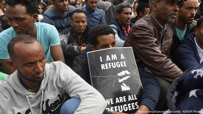 African refugees demonstrate against Israel's plan to forcibly expel them