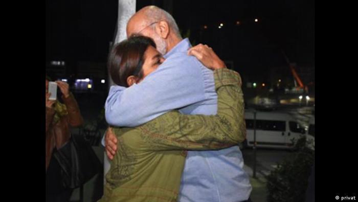 Sanem Altan hugs her father