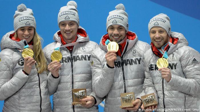Pyeongchang 2018 Olympische Winterspiele - Rodelteam Deutschland Gold