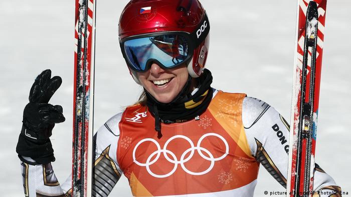 Ester Ledecka celebrates gold