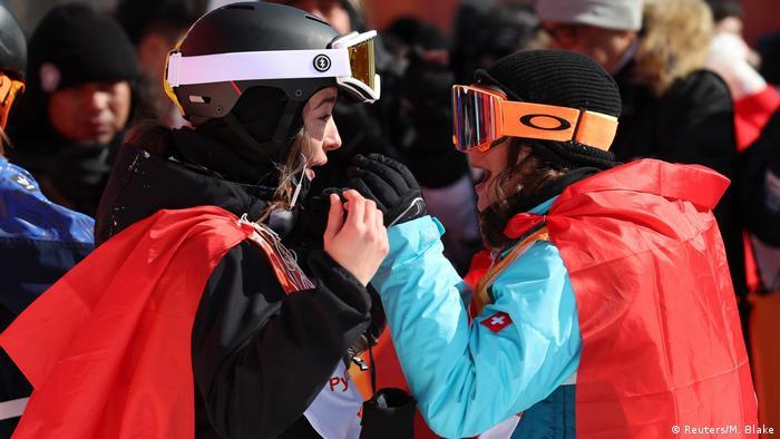 Mathilde Gremaud (Silver) and Sarah Hoefflin (Gold) of Switzerland celebrate
