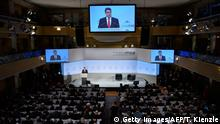 German Foreign Minister Sigmar Gabriel is being displayed on giant screens as he gives a speech during the Munich Security Conference on February 17, 2018 in Munich, southern Germany. Global security chiefs and top diplomats attend the annual Munich Security Conference running until February 18, 2018 to discuss Syria, Ukraine and other international conflicts and crises. / AFP PHOTO / Thomas KIENZLE (Photo credit should read THOMAS KIENZLE/AFP/Getty Images)