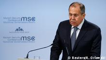 Russian Foreign Minister Sergey Lavrov speaks at the Munich Security Conference