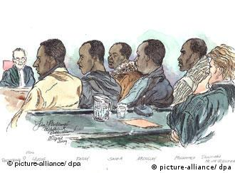A court artist impression of five suspected Somali pirates who appeared in a Rotterdam court