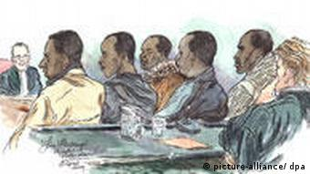 A court artist impression of the five suspected Somali pirates