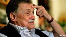 FILE - In this May 1, 2005 file photo, Uruguayan novelist Mario Benedetti gestures during an interview in Montevideo, Uruguay. (AP Photo/Marcelo Casacuberta) **URUGUAY OUT**