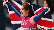 Lizzy Yarnold celebrates gold