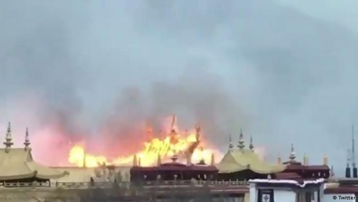 Fire at the sacred Jokhang Monastery