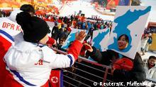 Pyeongchang 2018 Olympische Winterspiele   Demonstranten für eine koreanische Einigung