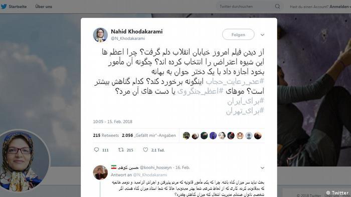 Screenshot Twitter- Nahid Khodakarami (Twitter)