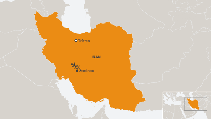 Map showing Semirom and Tehran in Iran