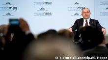 18.02.2018, Bayern, München: Mevlüt Cavusoglu, Außenminister der Türkei, nimmt während der 54. Münchner Sicherheitskonferenz an einer Diskussion teil. Zu der dreitägigen Veranstaltung werden mehr als 500 Gäste, darunter Staats- und Regierungschefs, erwartet. Foto: Sven Hoppe/dpa +++(c) dpa - Bildfunk+++ | Verwendung weltweit