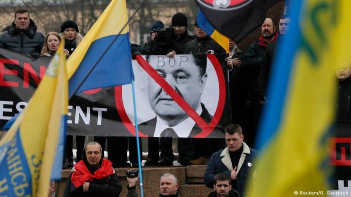 upporters of Ukrainian opposition figure and Georgian former President Mikheil Saakashvili hold a rally against Ukraine's President Petro Poroshenko in Kiev, Ukraine February 18, 2018.