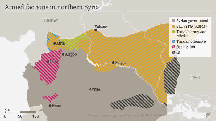 Map showing positions of armed factions in northern Syria