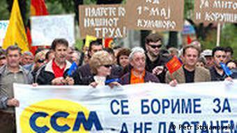 Mazedonien Gewerkschaften Proteste