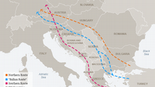 Karte Migrant routes through the Balkans to Germany ENG