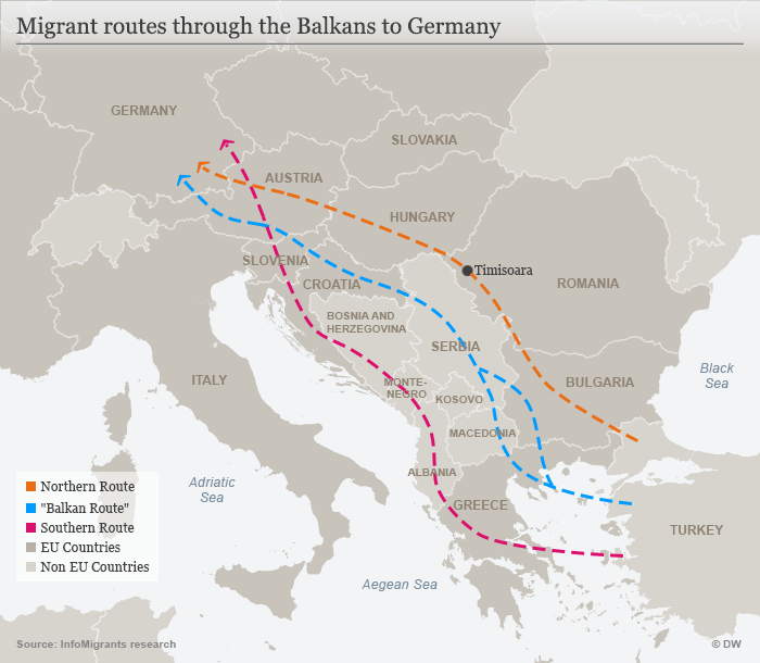 Map showing migrant routes through the Balkans to Germany