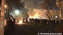 Screenshot Twitter: Teheran Zusammenstoss iranischen Gonabadi Derwischen und Polizei