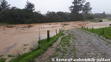 Farmland flooded in Bainham, New Zealand