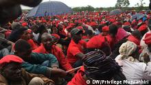 MDC supporters in red t-shirts attend the funeral of opposition leader Tsvangirai