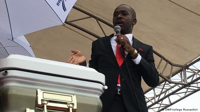 Nelson Chamisa, the putative new leader of the MDC-T, speaking at Tsvangirai's funeral