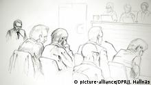 A sketch of the terror trial against Stockholm attacker Rakhmat Akilov