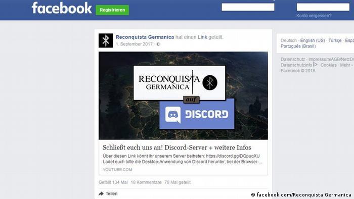 Screen shot of Reconquista Germanica on Facebook