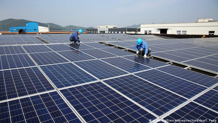 Solar panels at a photovoltaic power station in Zhoushan, China