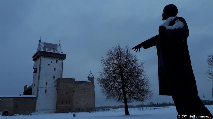 A statue of Lenin in the courtyard of Hermann Castle on the Narva River in Estonia