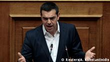 21.02.2018+++ Greek Prime Minister Alexis Tsipras addresses lawmakers as Parliament Speaker Nikos Voutsis chairs a parliamentary session before a vote on setting up a special committee which will probe the role of ten politicians in a case which involves alleged bribery by Swiss drugmaker Novartis, in Athens, Greece, February 22, 2018. REUTERS/Alkis Konstantinidis